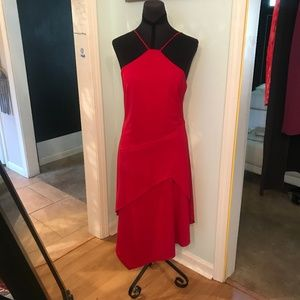 Red Asymetric Cocktail Dress - Faviana Size 5/6
